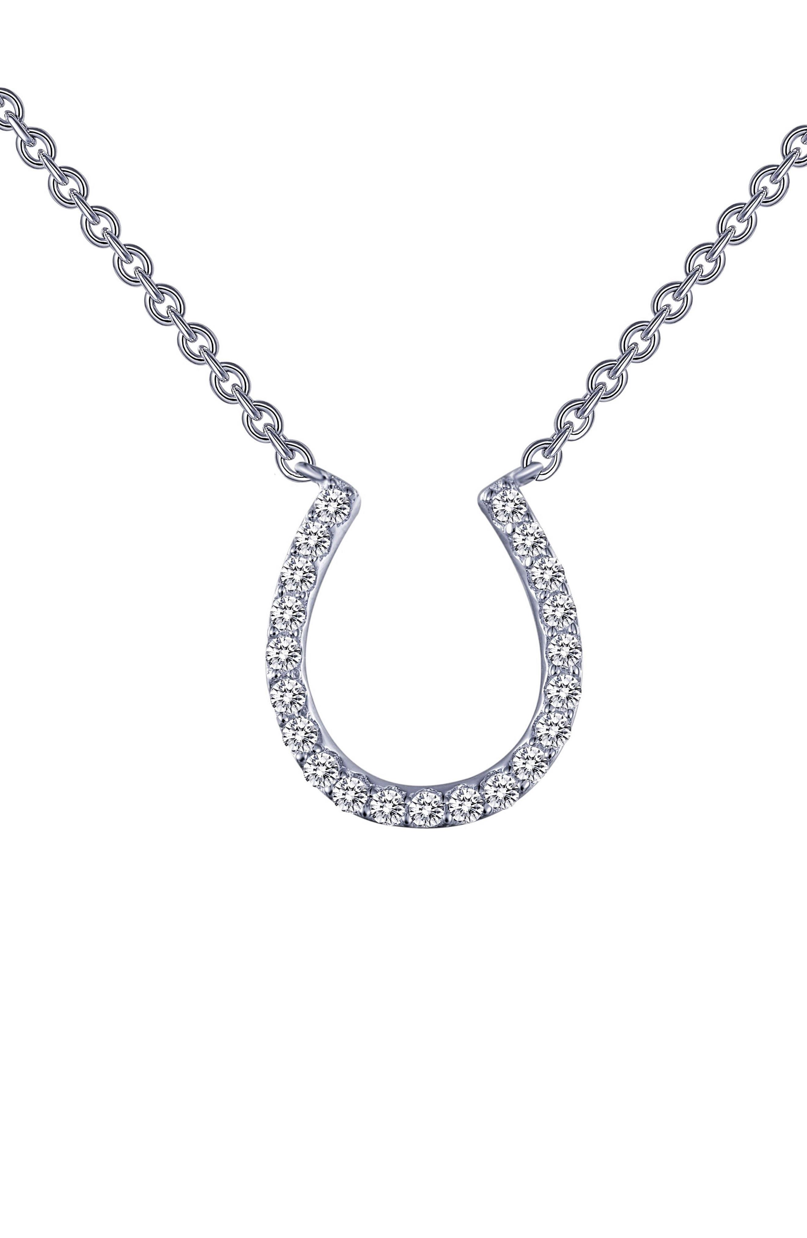 Horseshoe Simulated Diamond Pendant Necklace