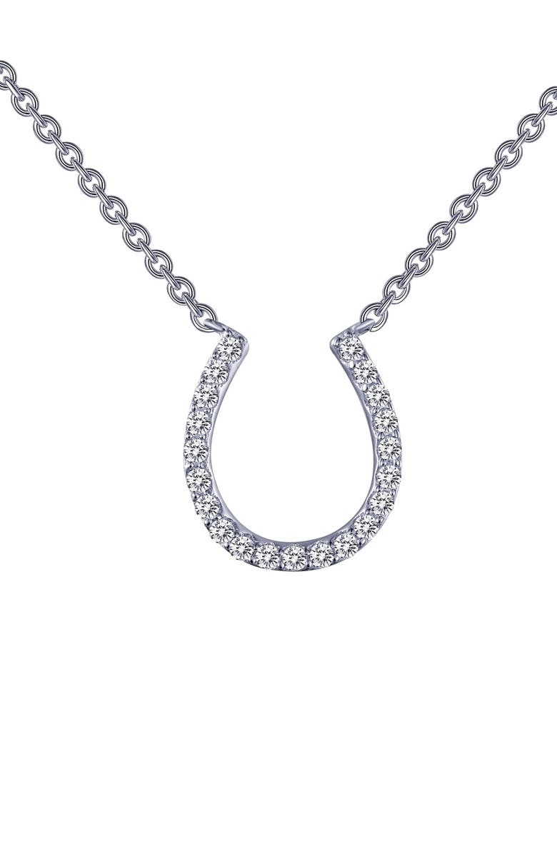 LAFONN Horseshoe Simulated Diamond Pendant Necklace, Main, color, 040
