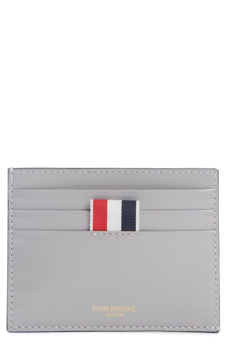 THOM BROWNE Leather Card Case, Main, color, MEDIUM GREY
