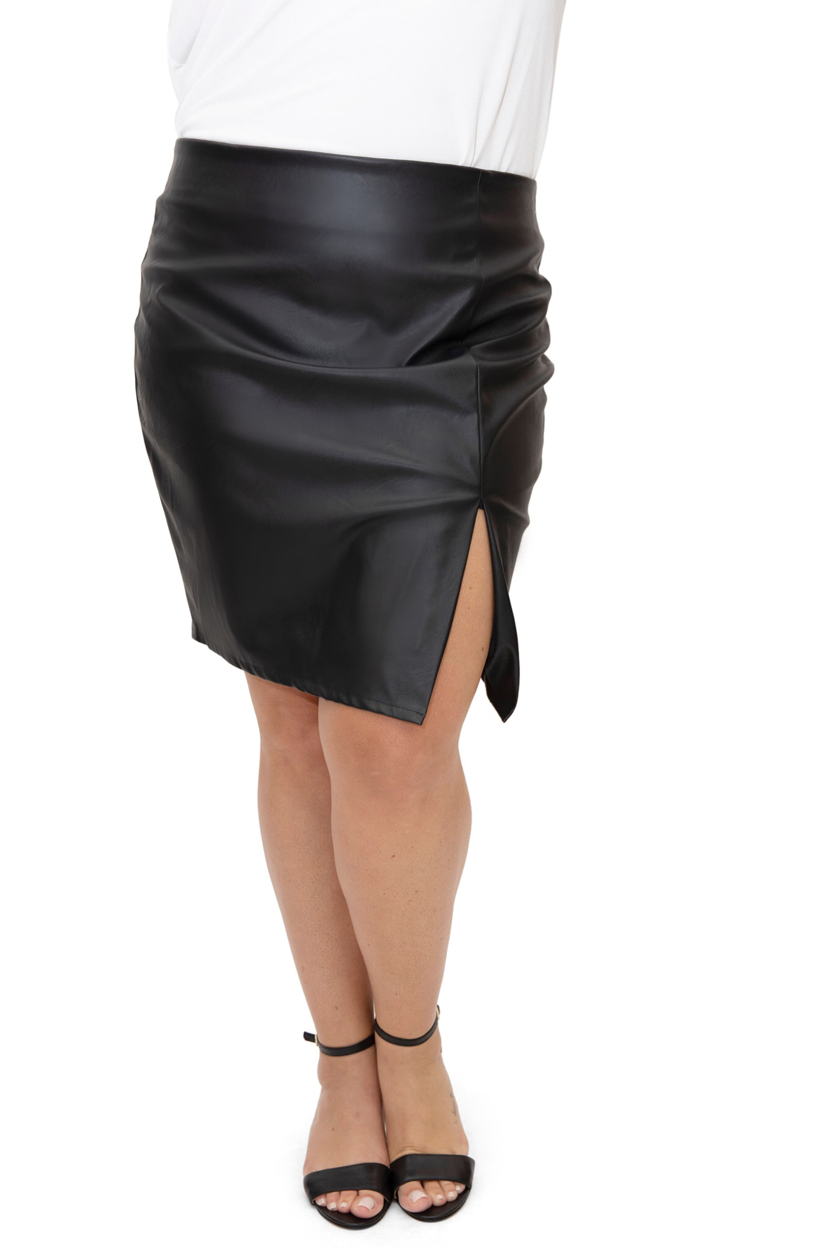 Asymmetric Faux Leather Skirt