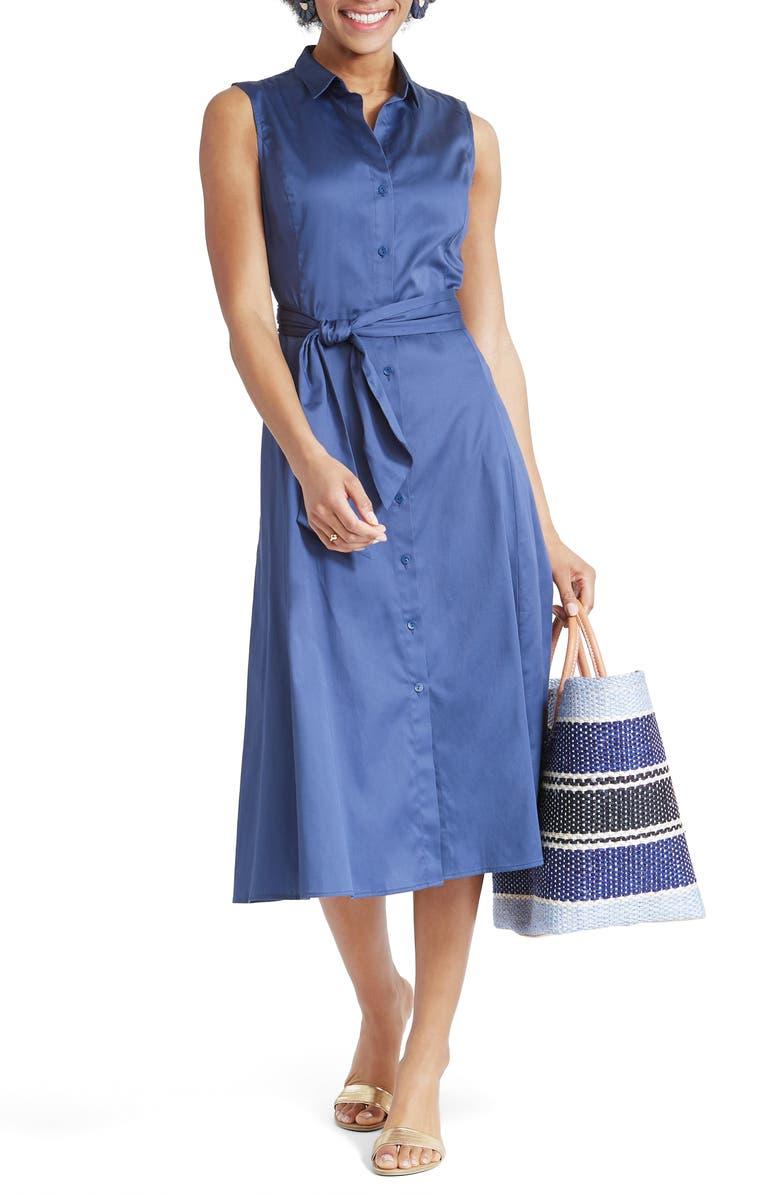 NIC+ZOE Santa Monica Midi Shirtdress, Main, color, SOFT NAVY