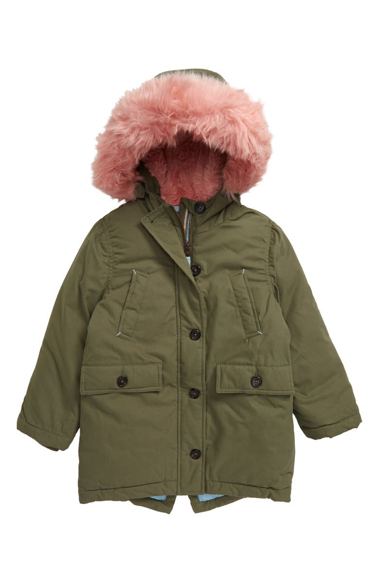 MINI BODEN Cosy Water Resistant Faux Fur Trim Hooded Parka, Main, color, KHAKI GREEN