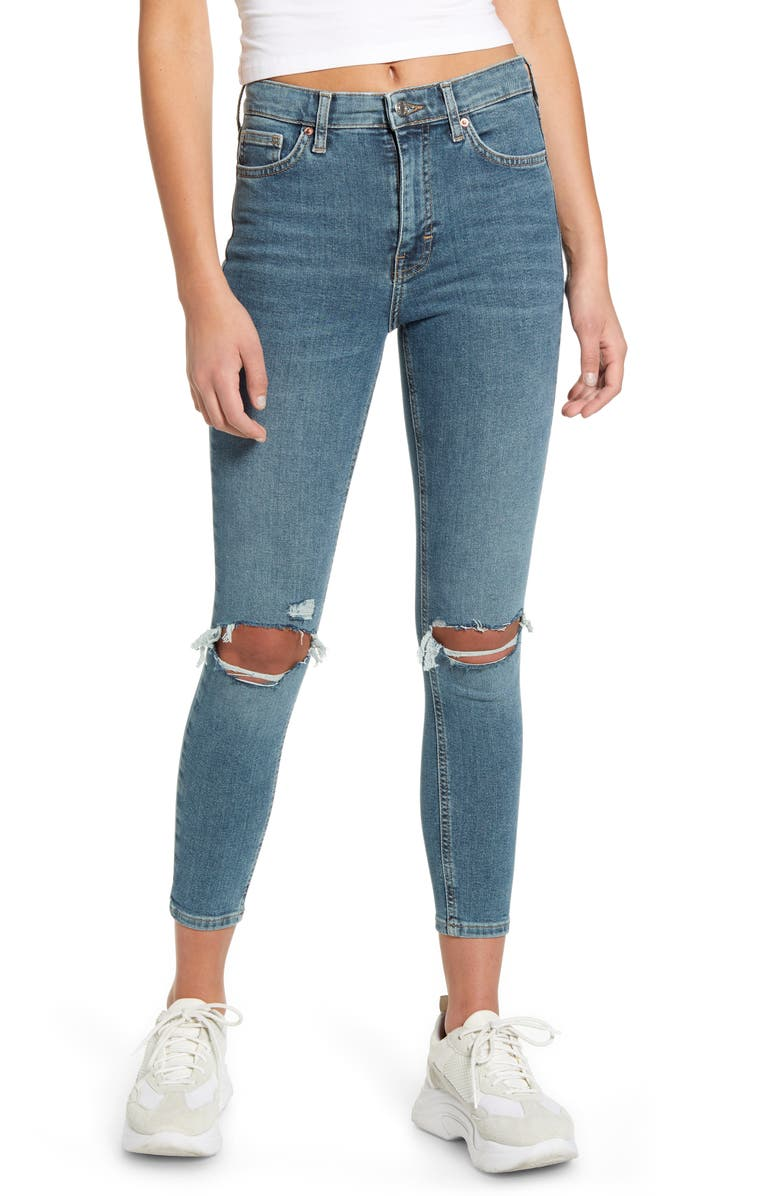 TOPSHOP Jamie High Waist Ripped Skinny Jeans, Main, color, BLUE/GREEN