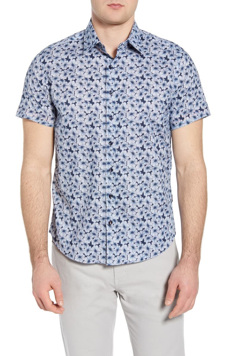 STONE ROSE Floral Short Sleeve Button-Up Shirt, Main, color, NAVY