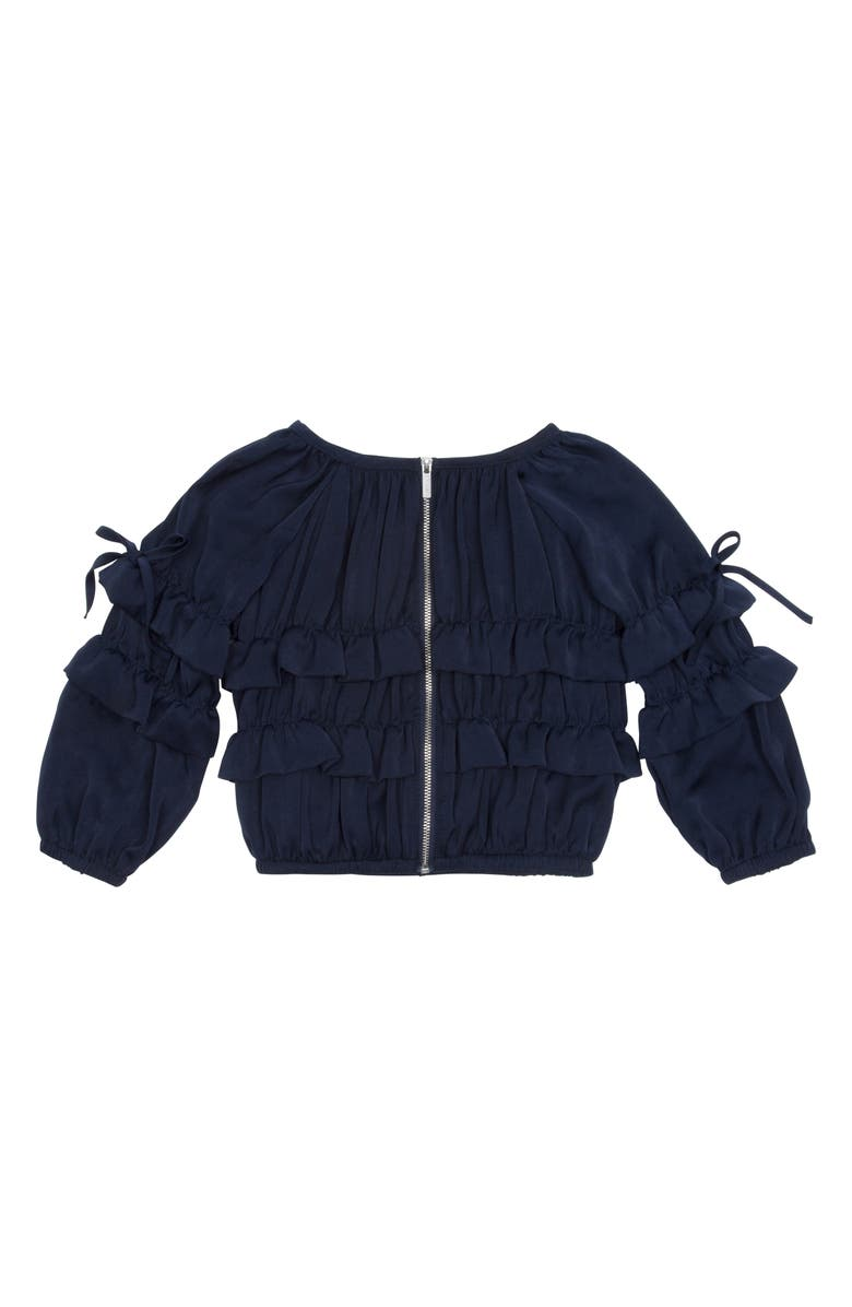 HABITUAL Girl Maribelle Ruffle Jacket, Main, color, NAVY