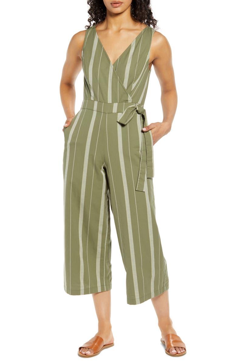LUCKY BRAND Daisy Stripe Sleeveless Cotton Jumpsuit, Main, color, 340
