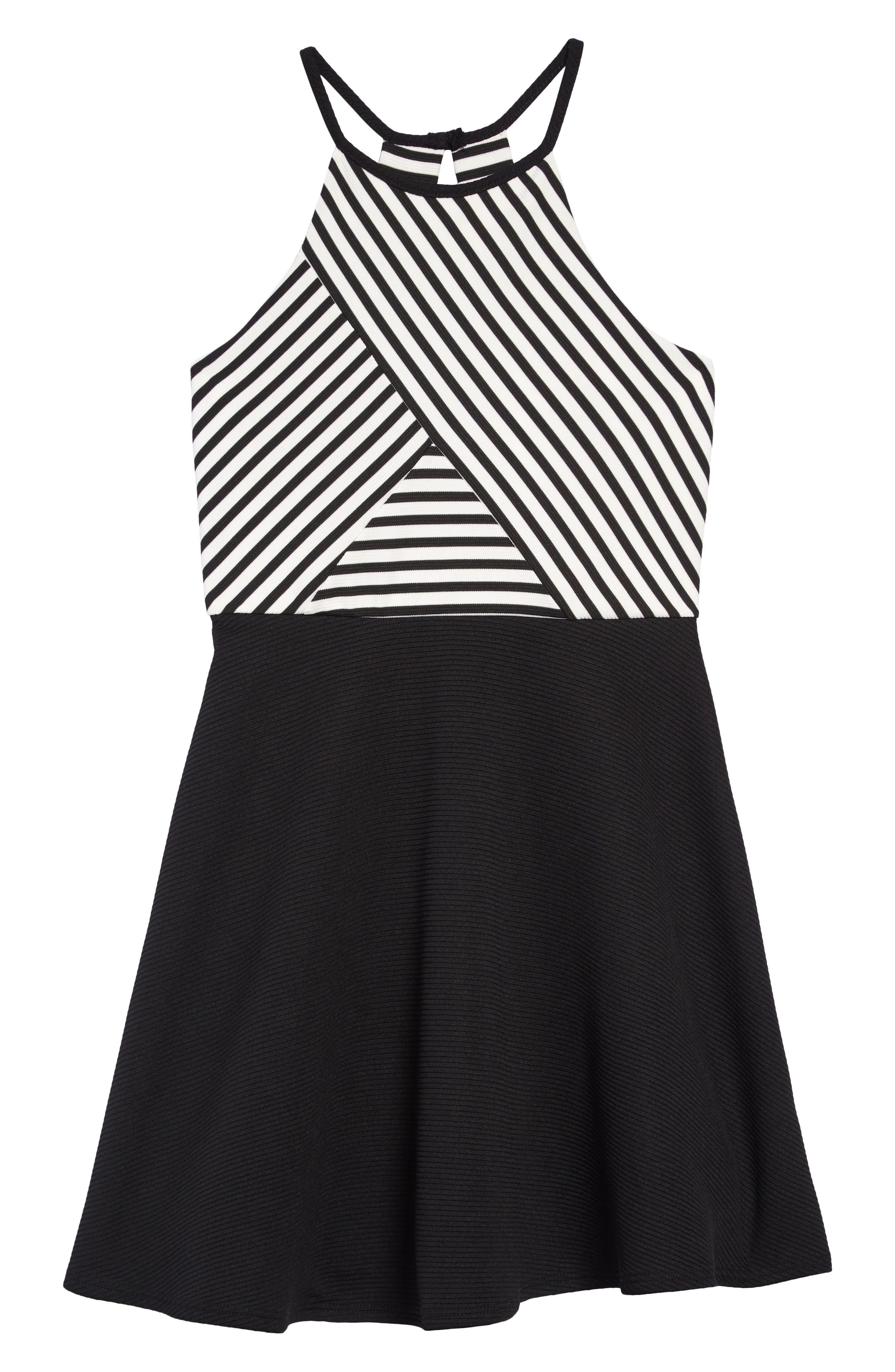 e1f222a088f8 Girl's Zunie Stripe Ottoman Skater Dress, Black