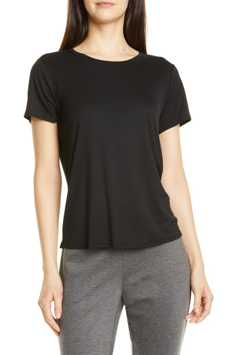 EILEEN FISHER Short Sleeve Tencel<sup>®</sup> Lyocell Tee, Main, color, 001