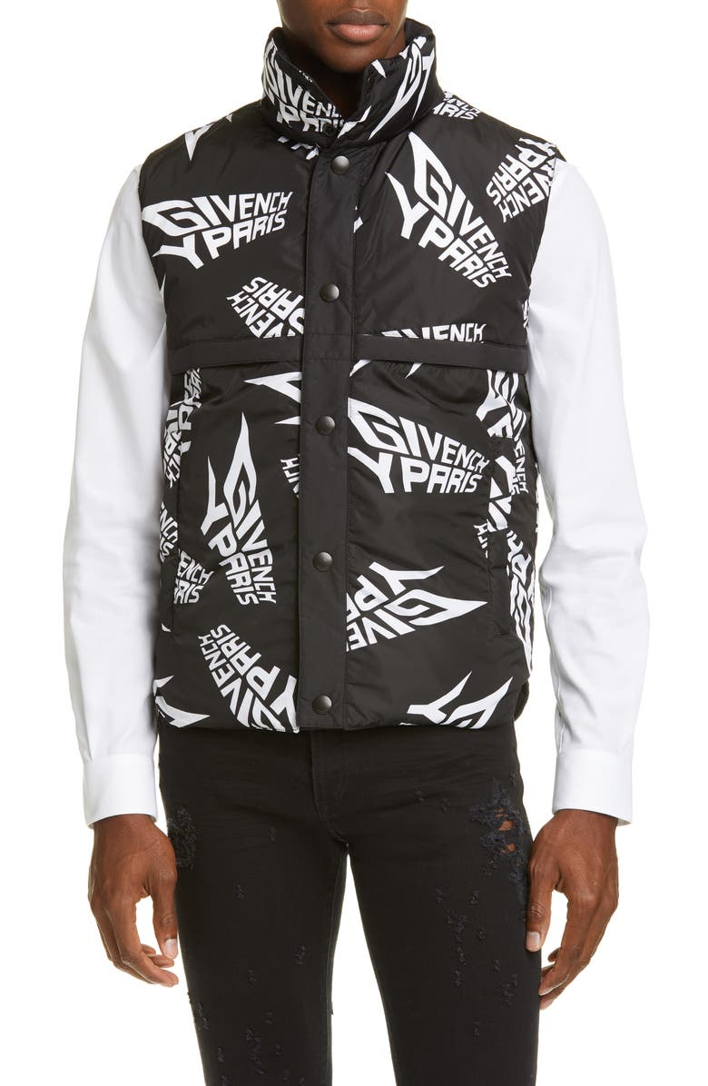 GIVENCHY Allover Logo Puffer Vest, Main, color, BLACK