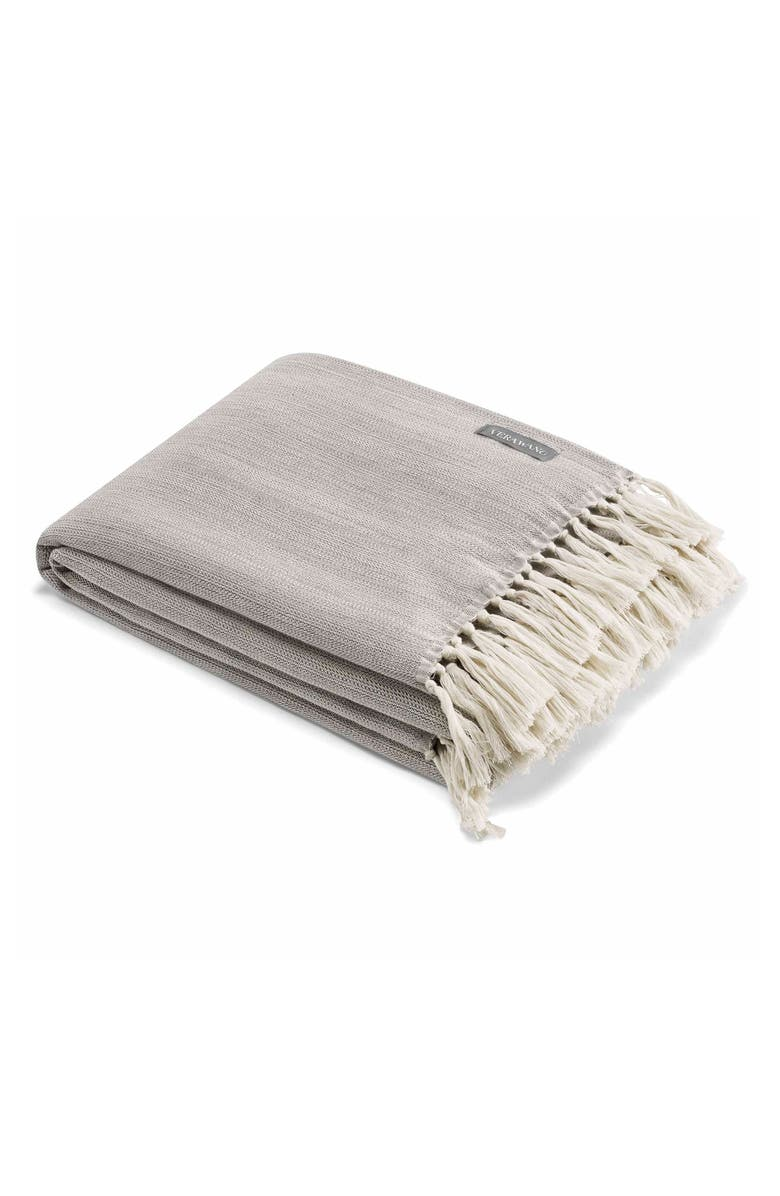 VERA WANG Fringe Cotton Twill Throw, Main, color, CHARCOAL