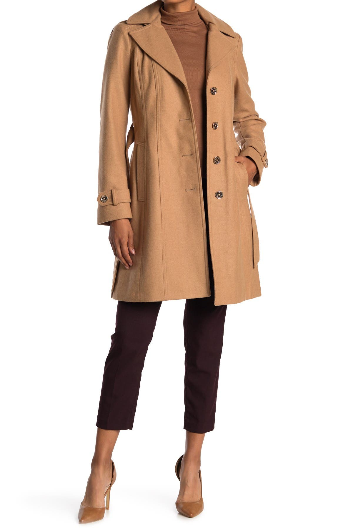 Image of Michael Kors Missy Belted Wool Blend Trench Coat