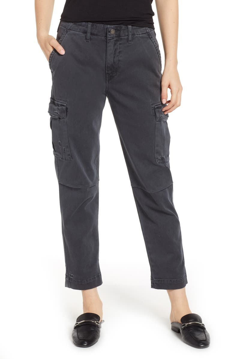 HUDSON JEANS Jane Relaxed Cargo Pants, Main, color, DISTRESSED ONYX