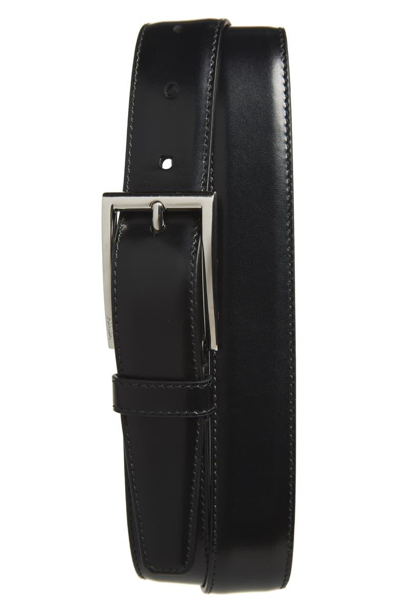PRADA Vitello Lux Leather Belt, Main, color, BLACK