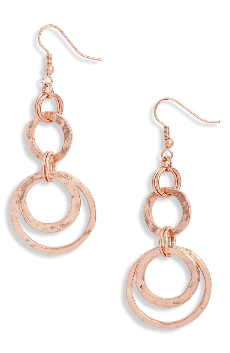 KARINE SULTAN Hoop Drop Earrings, Main, color, ROSE GOLD