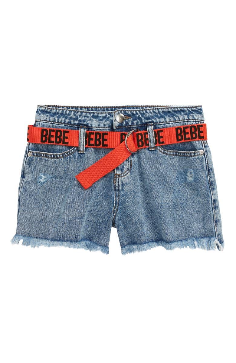 BEBE Belted Denim Shorts, Main, color, LT STONE
