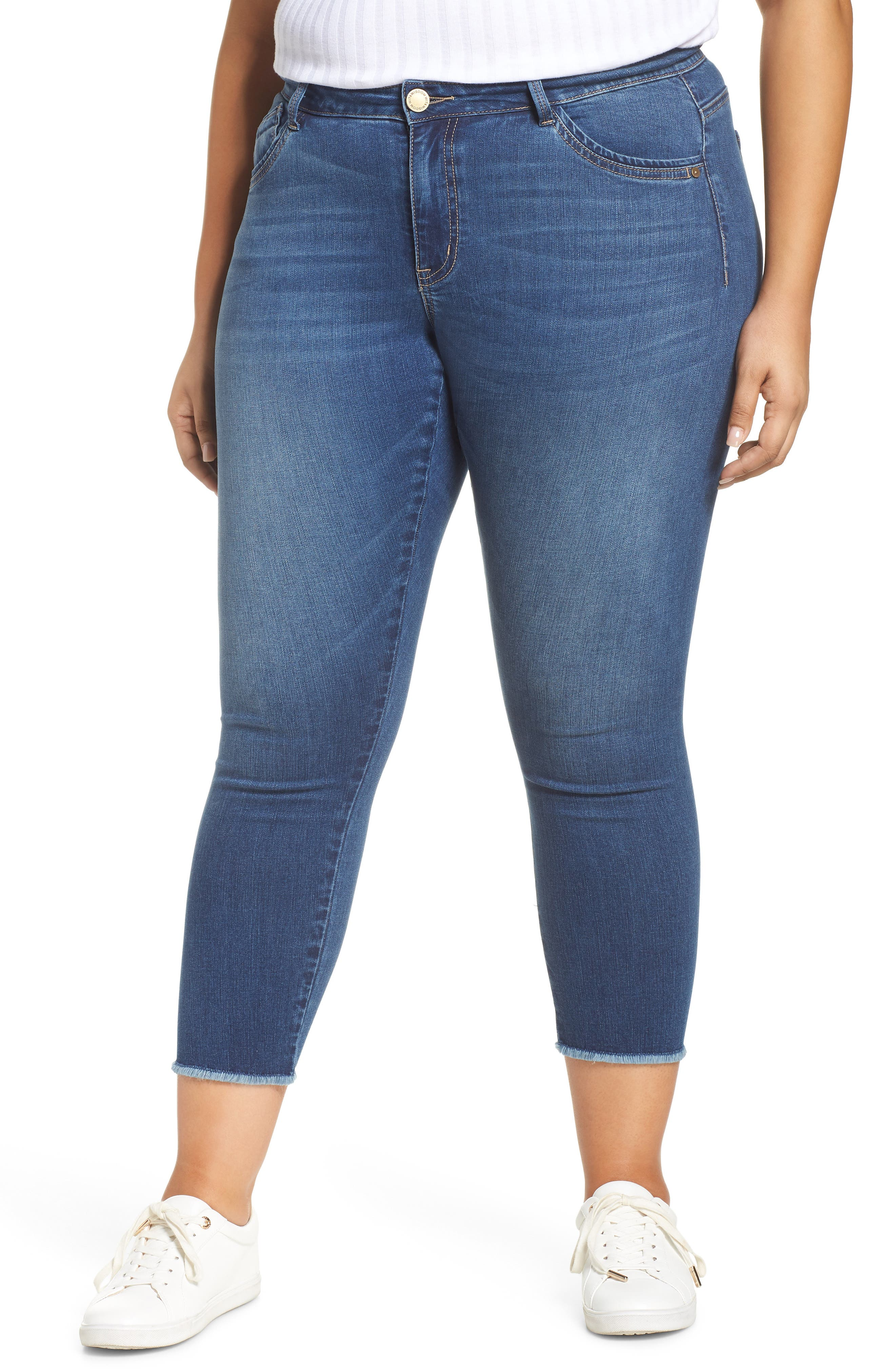 Seamless sides smooth the look of these extra-soft jeans styled in perfectly faded hue and fringed at the ankle for fun. Style Name: Wit & Wisdom Seamless Raw Edge Skinny Ankle Jeans (Nordstrom Exclusive). Style Number: 5785710. Available in stores.