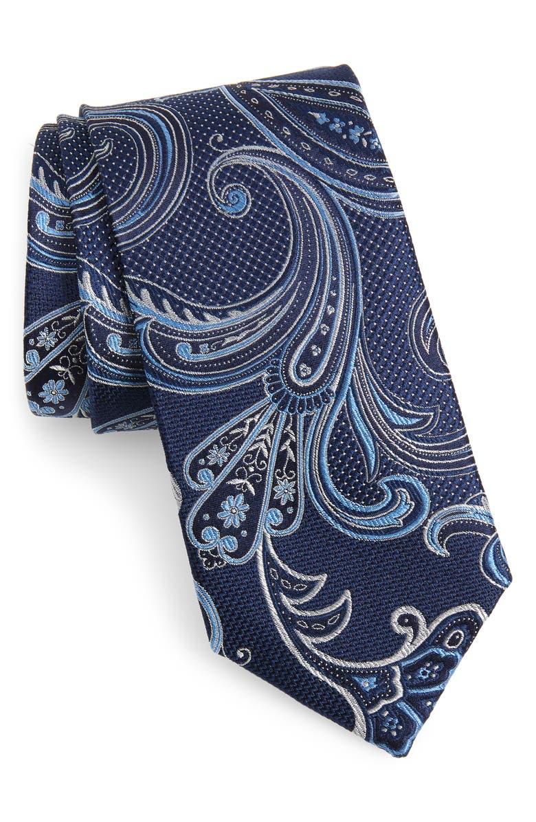 NORDSTROM MEN'S SHOP Bryce Paisley Silk Tie, Main, color, NAVY