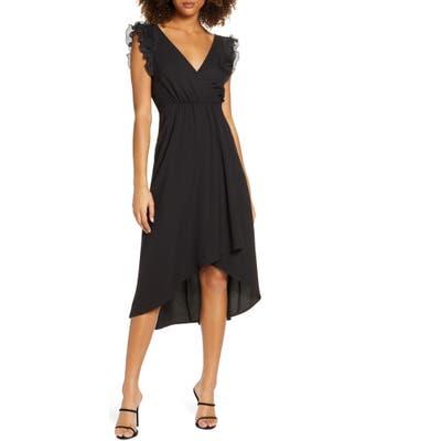 Ali & Jay Flutter Sleeve High/low Dress, Black