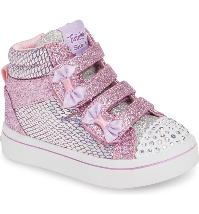 SKECHERS Twinkle Toes Twi-Lites Miss Holla Glam Light-Up High Top Sneaker, Main, color, PINK/ SILVER