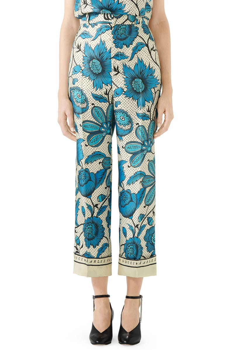 GUCCI Watercolor Floral Print Silk Twill Pants, Main, color, BLUE/ IVORY PRINT