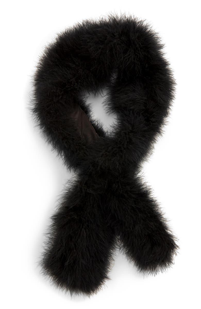 JOCELYN Feather Scarf, Main, color, BLACK