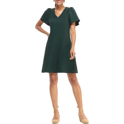 Gal Meets Glam Collection Sutton Box Weave Crepe Fit & Flare Dress, Green