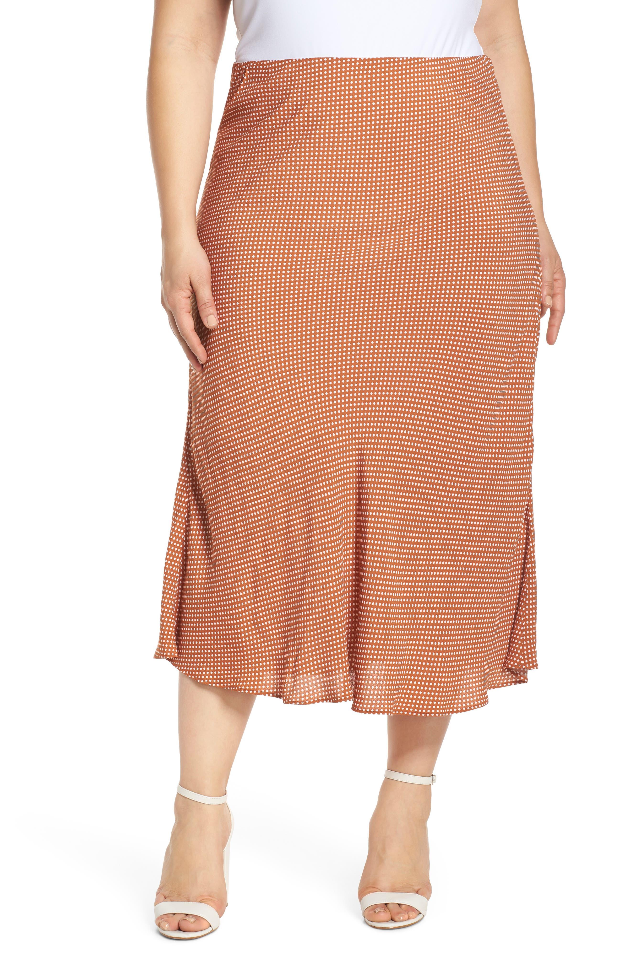 Plus Size Leith Bias Cut Midi Skirt, Brown