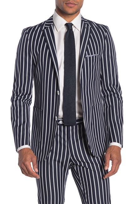 Image of Paisley & Gray Navy Stripe Two Button Notch Lapel Skinny Fit Suit Separates Blazer