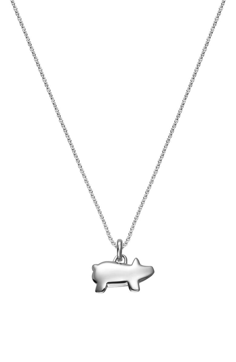 MONICA VINADER Chinese Zodiac Bessie the Pig Pendant Charm, Main, color, SILVER