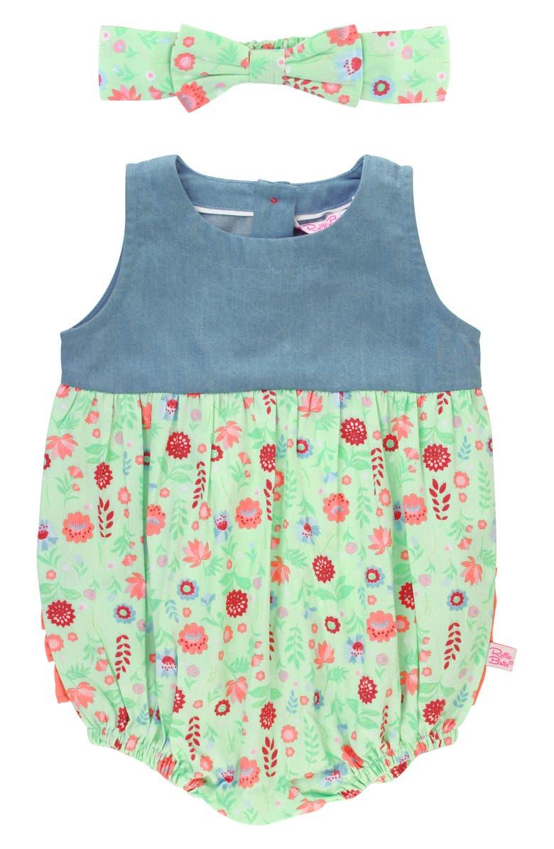 RUFFLEBUTTS Darling Dahlias Floral Bubble Romper & Head Wrap Set, Main, color, BLUE