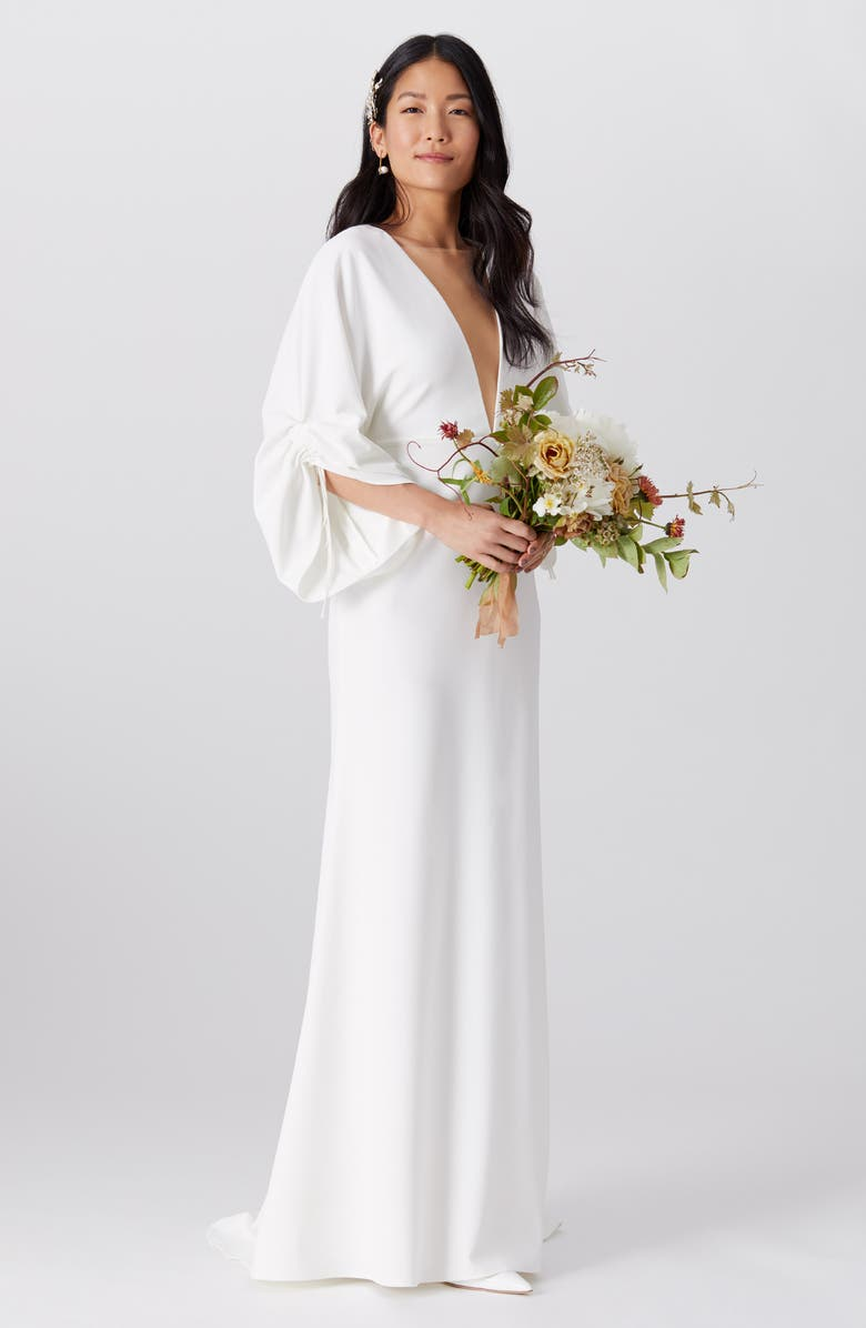 BY WATTERS Fields Plunge Wedding Dress, Main, color, 900