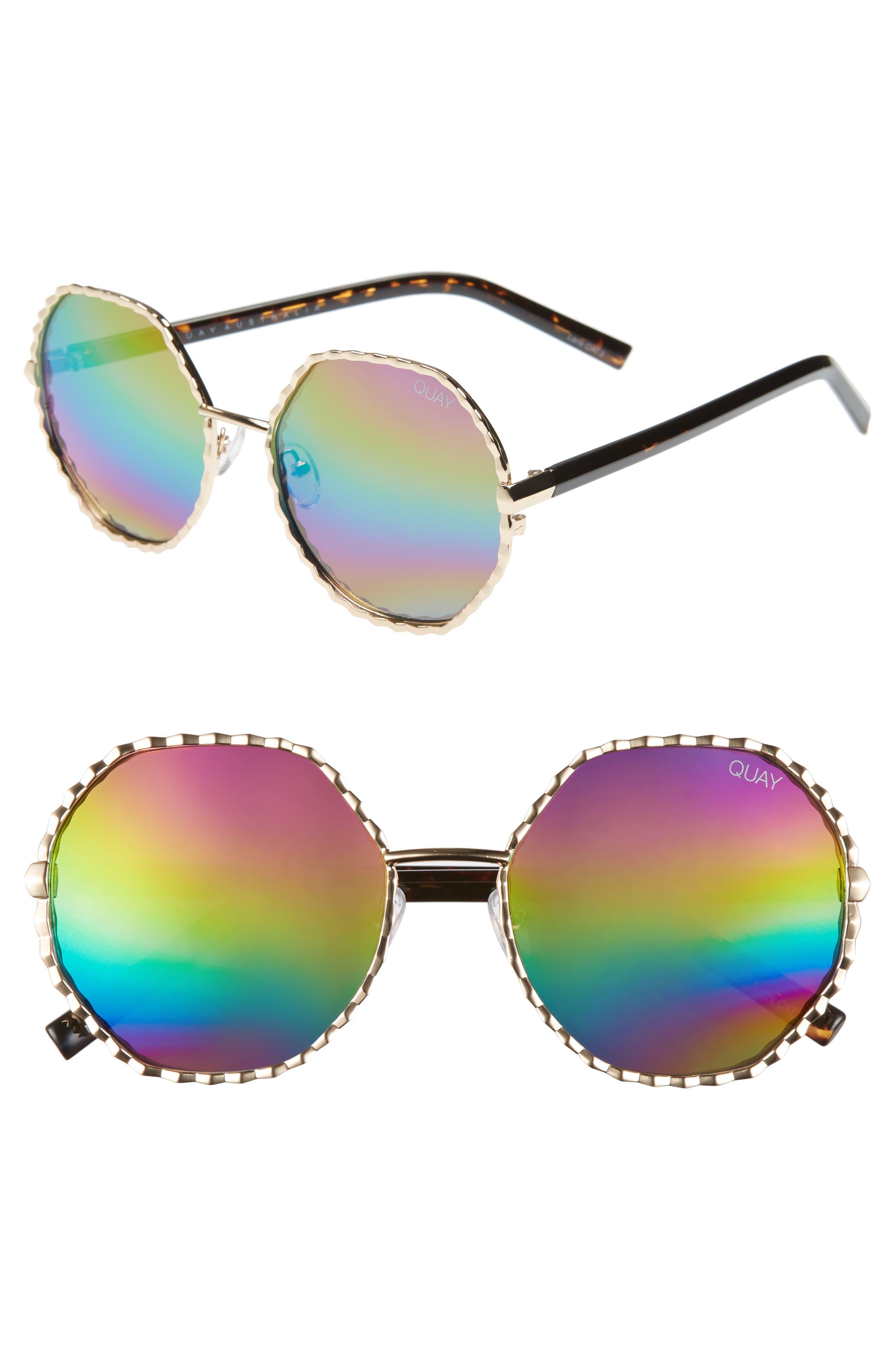 Quay Australia Breeze In 5m Round Sunglasses - Gold/ Purple Rainbow