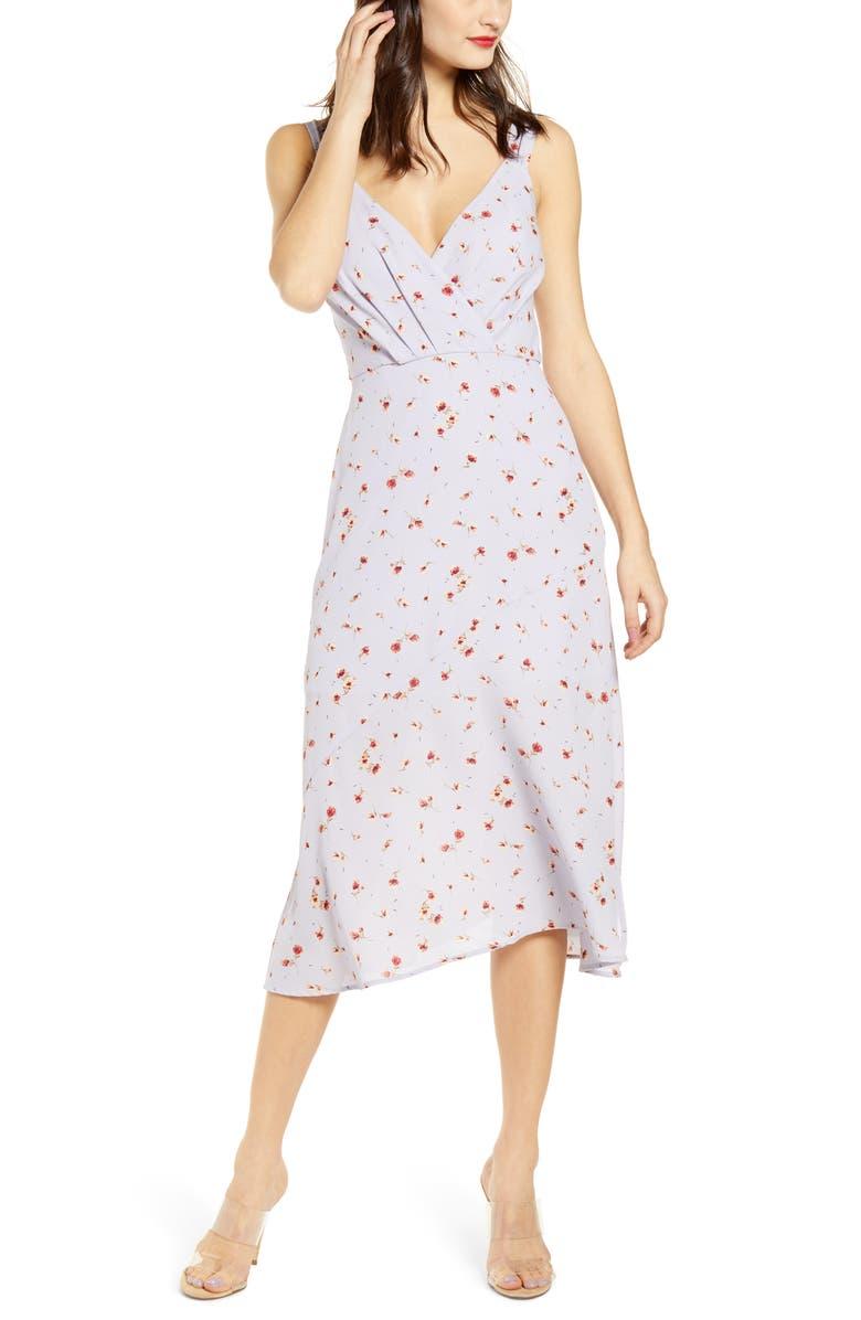 ROW A Surplice Neck Bias Cut Floral Print Midi Dress, Main, color, LILAC