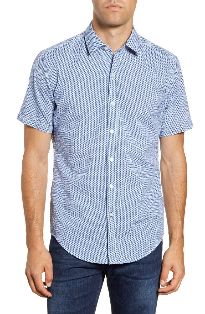 BOSS HUGO Robb Slim Fit Short Sleeve Button-Up Sport Shirt, Main, color, BLUE