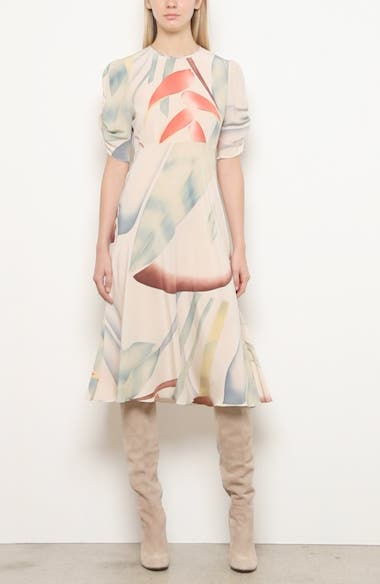 Watercolor Leaf Print Silk Midi Dress, video thumbnail