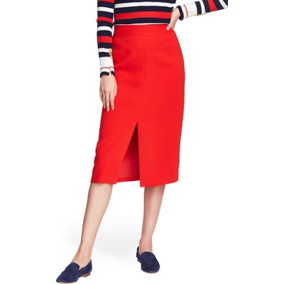 Court & Rowe Front Slit Crepe Pencil Skirt, Red