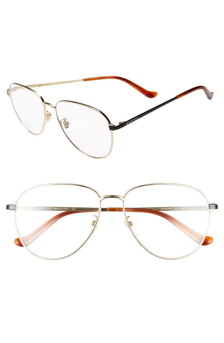 GUCCI 57mm Optical Glasses, Main, color, GOLD