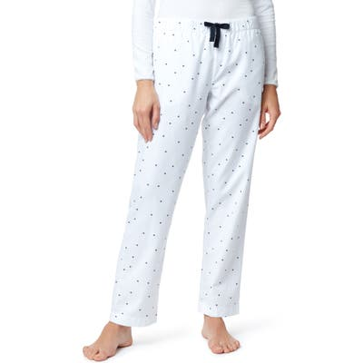 The White Company Heart Print Flannel Pajama Pants, Blue
