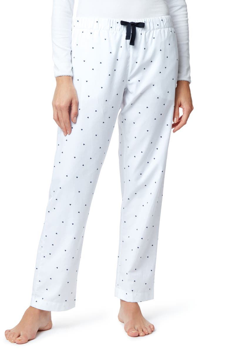 THE WHITE COMPANY Heart Print Flannel Pajama Pants, Main, color, 400