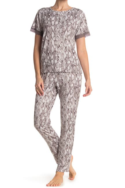 Image of Flora Nikrooz Sleepwear Shania Snake Print Top & Pants 2-Piece Pajama Set