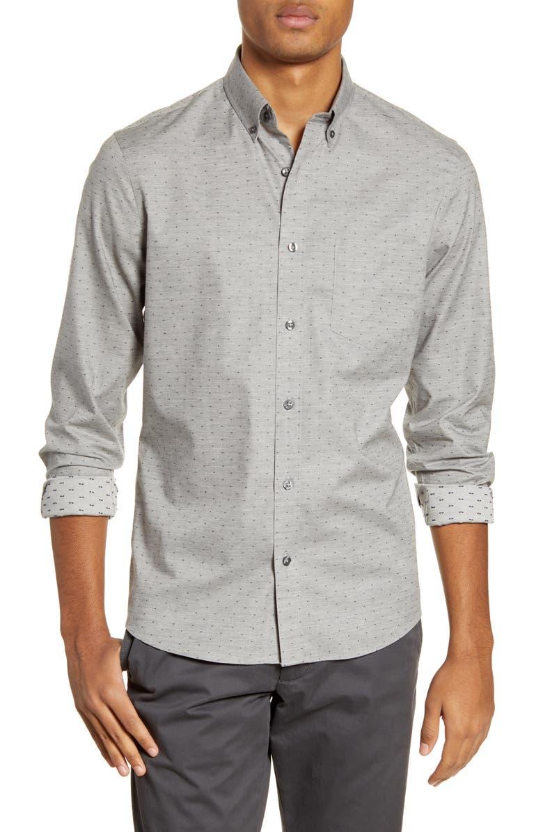 NORDSTROM MEN'S SHOP Trim Fit Button-Down Shirt, Main, color, GREY HEATHER NAVY DOBBY