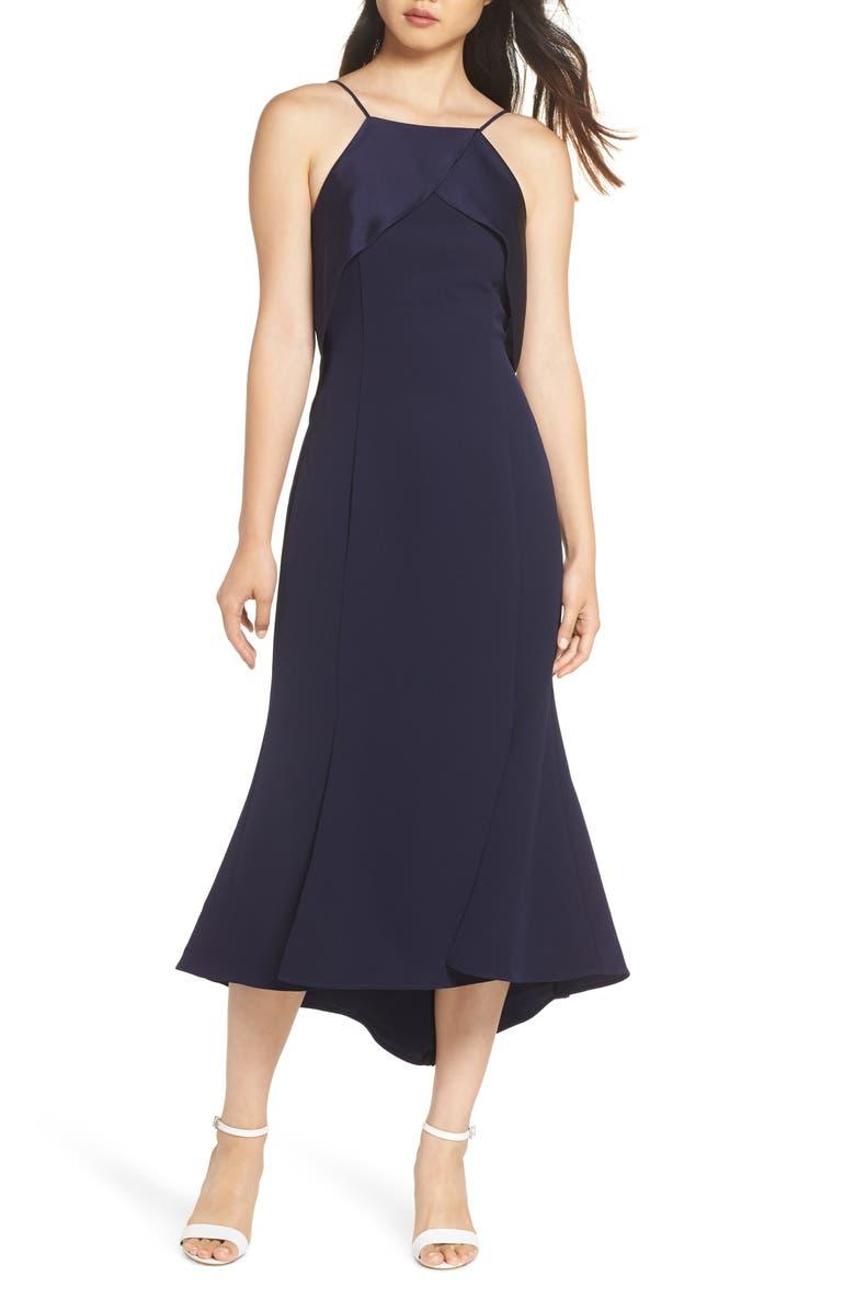 HARLYN Ruffle Back Halter Midi Dress, Main, color, 410
