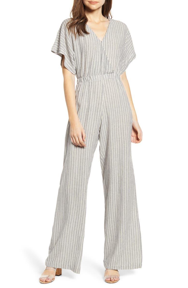 BISHOP + YOUNG Palerma Stripe Wide Leg Jumpsuit, Main, color, GREY STRIPE