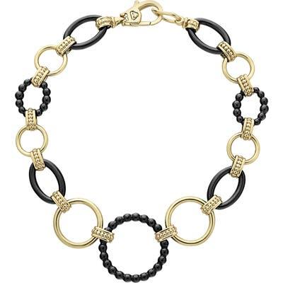 Lagos Gold & Black Caviar Circle Link Bracelet