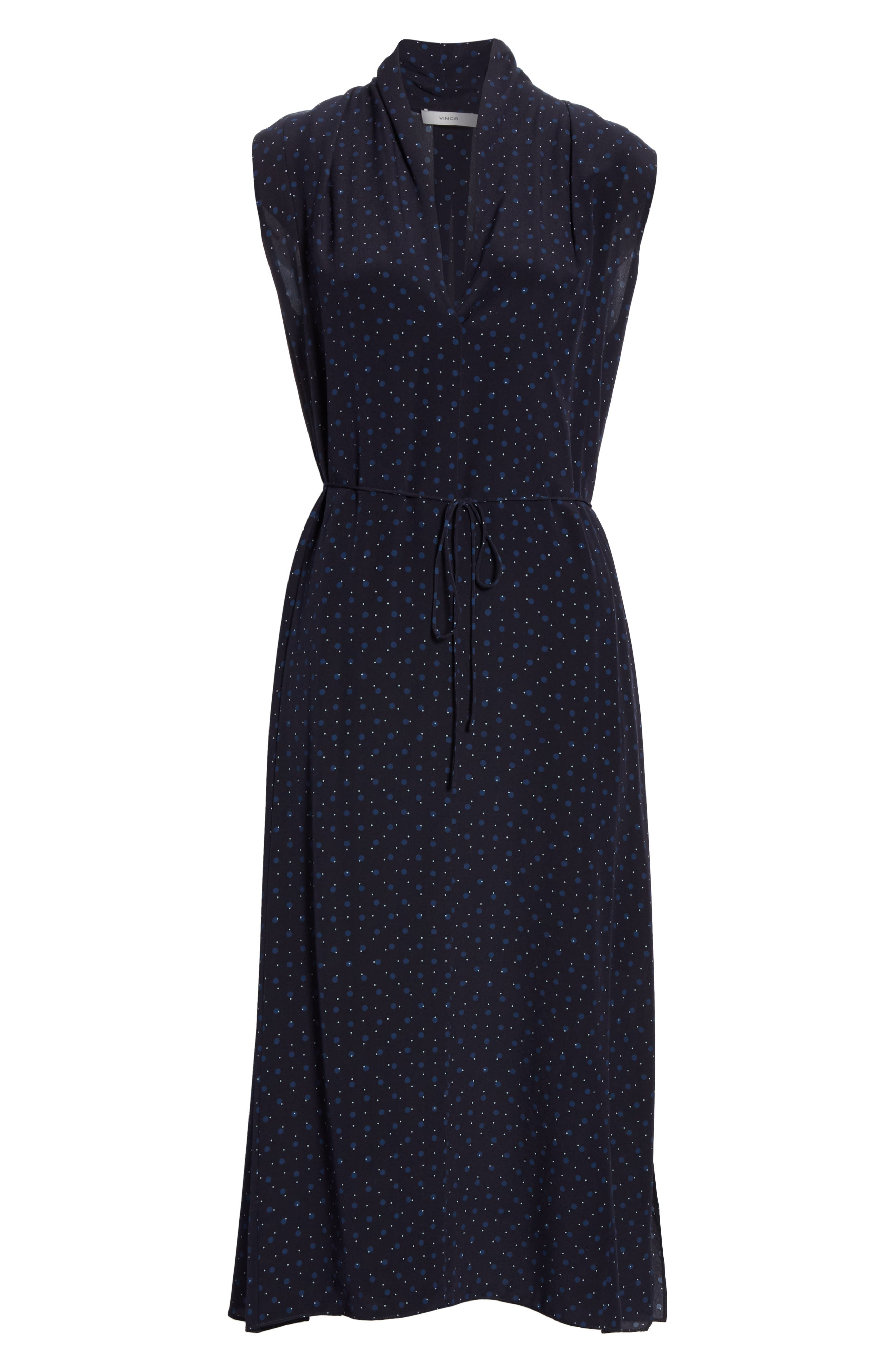 ,                             Shadow Dot Midi Silk Dress,                             Alternate thumbnail 7, color,                             INDIGO