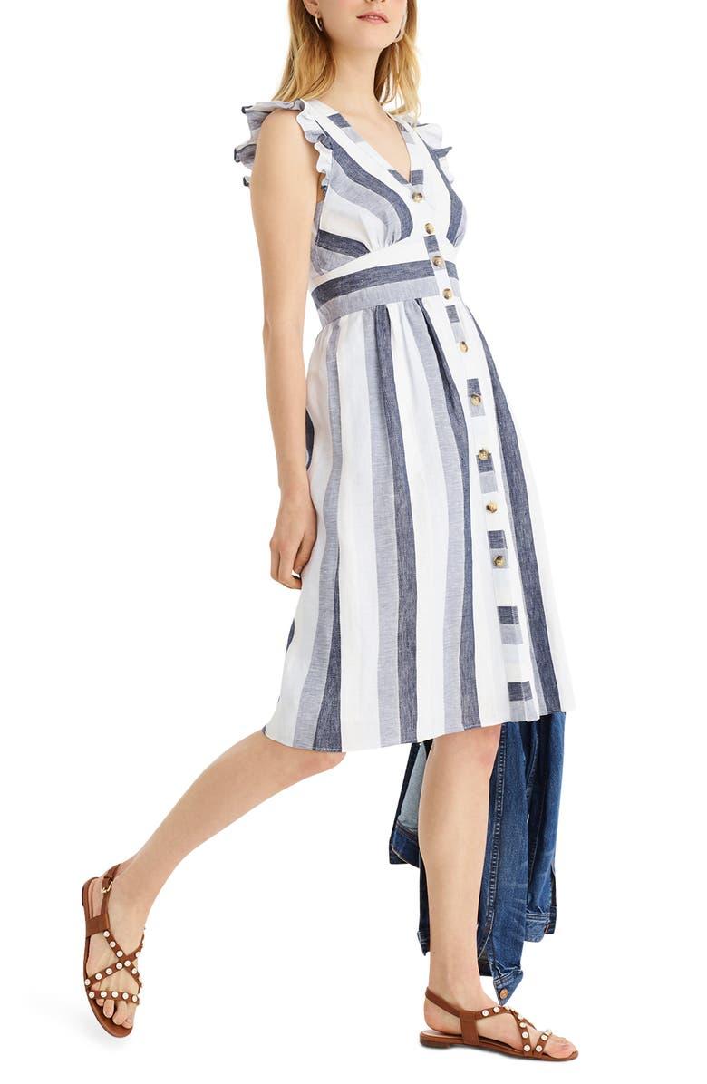 J.CREW Indigo Stripe Button Front Linen Midi Dress, Main, color, 254
