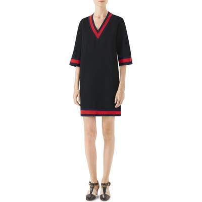Gucci Stripe Trim Shift Dress, Black