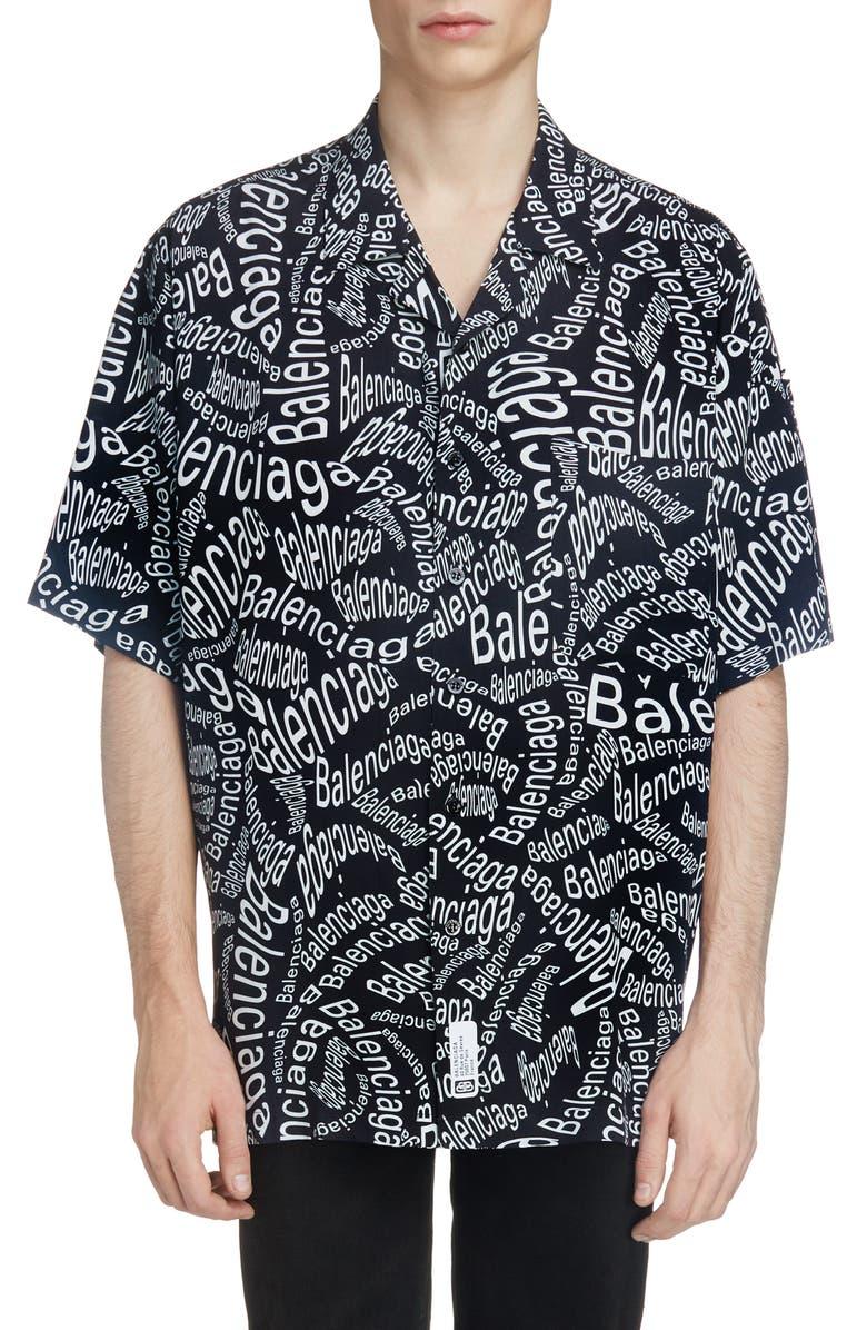 Logo Print Short Sleeve Button Up Camp Shirt by Balenciaga