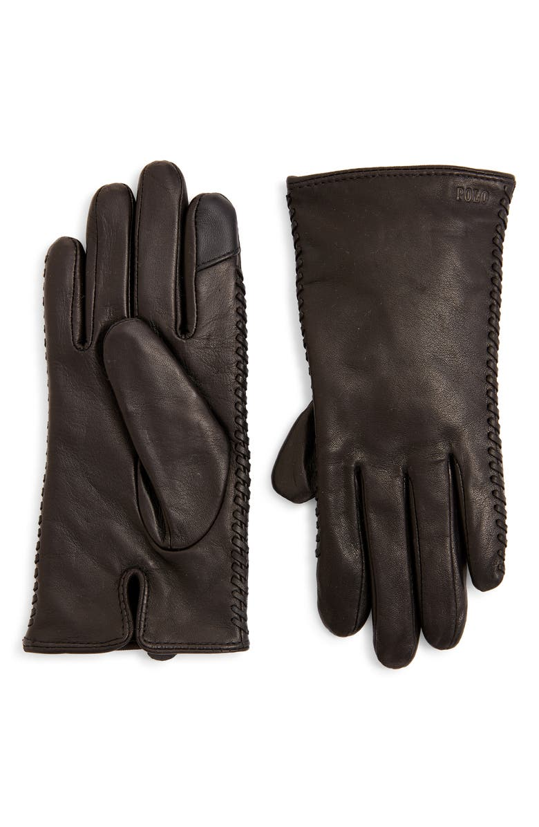 POLO RALPH LAUREN Whipstitch Leather Gloves, Main, color, BLACK