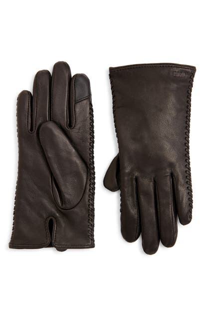 Polo Ralph Lauren Whipstitch Leather Gloves In Black